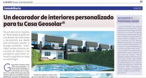 La Casa Geosolar® destaca en la prensa por ser la primera vivienda con decorador incluido