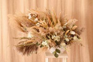 decoración con flores secas